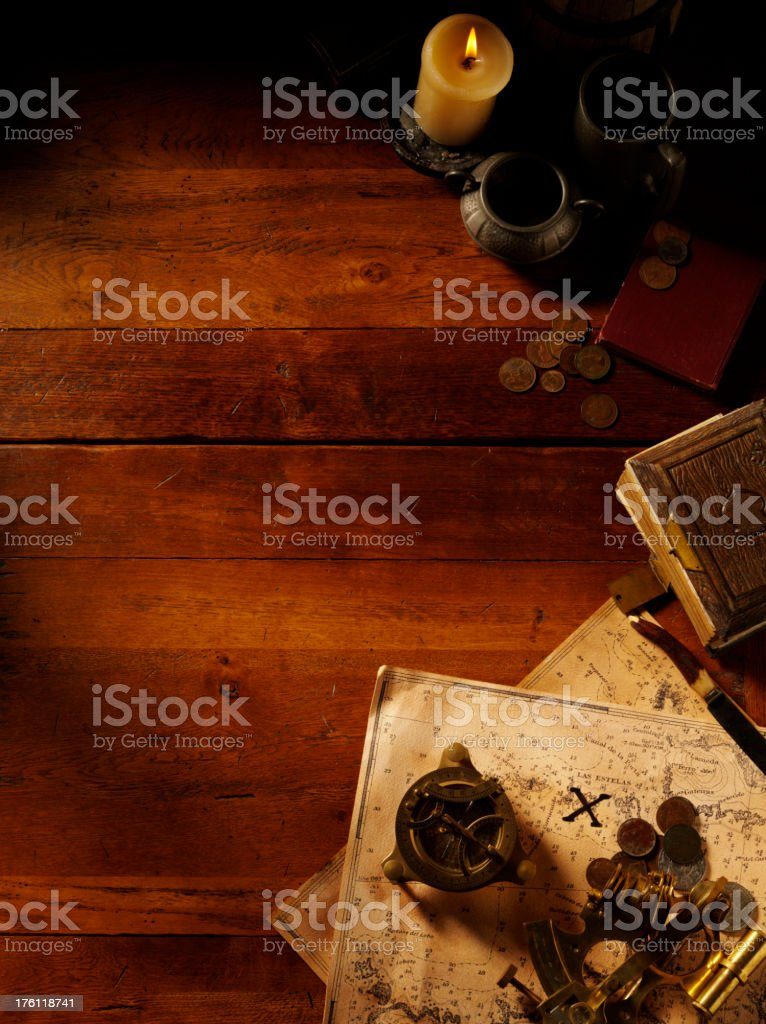 Treasure Map and Nautical Equipment stock photo