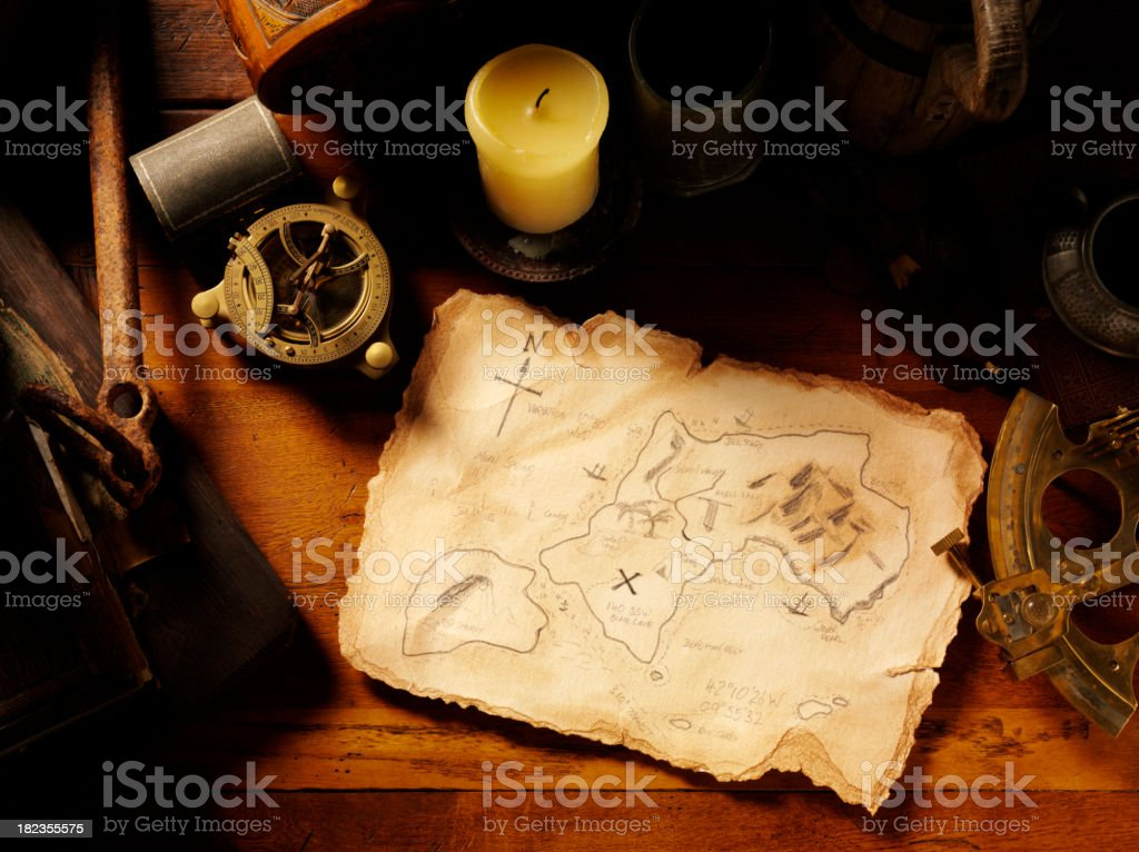 Treasure Map and Nautical Equipment royalty-free stock photo