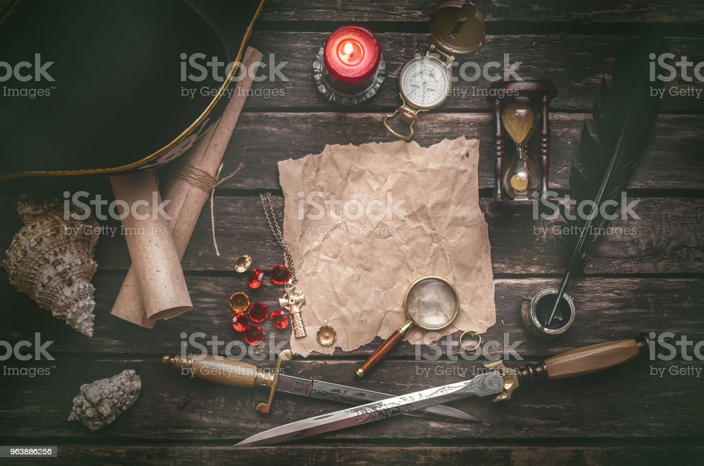 Treasure map. Pirate table. - Royalty-free Adventure Stock Photo