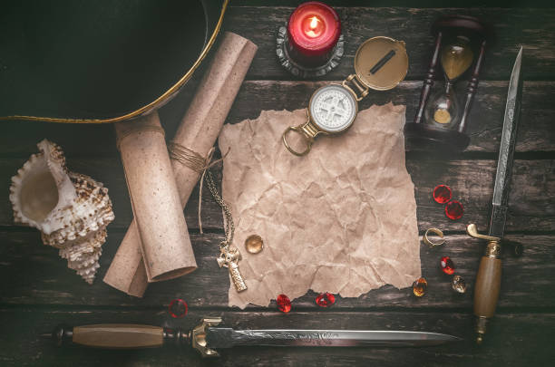 treasure map. pirate table. - pirates stock photos and pictures