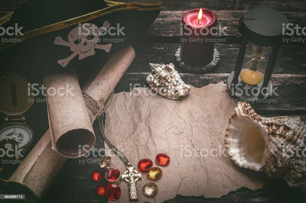 Treasure map. Pirate table. - Royalty-free Adventure Stock Photo