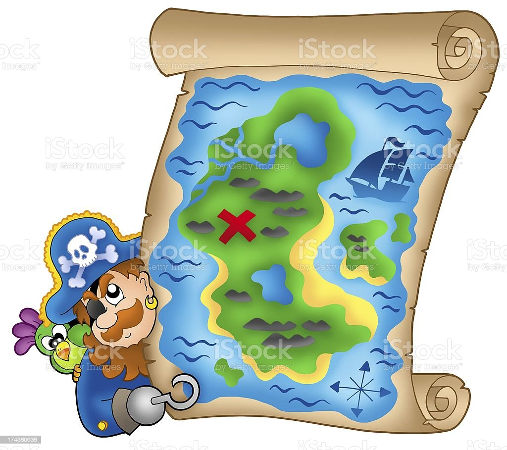 Treasure map with lurking pirate royalty-free stock photo