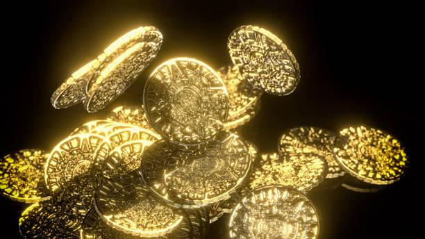 Schatz der alten Azteken gold Münzen gestohlen von Piraten 3d illustration – Foto