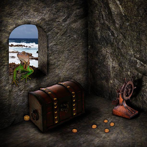 schätze der karibik lassen mit photoshop - piratenzimmer themen stock-fotos und bilder