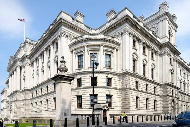 Tesorería edificio de oficinas gubernamentales gran George Street, Westminster, el London - foto de stock