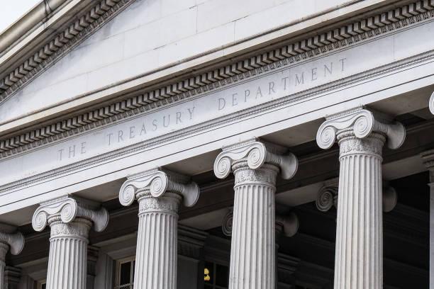 treasury department building - luogo d'interesse nazionale foto e immagini stock