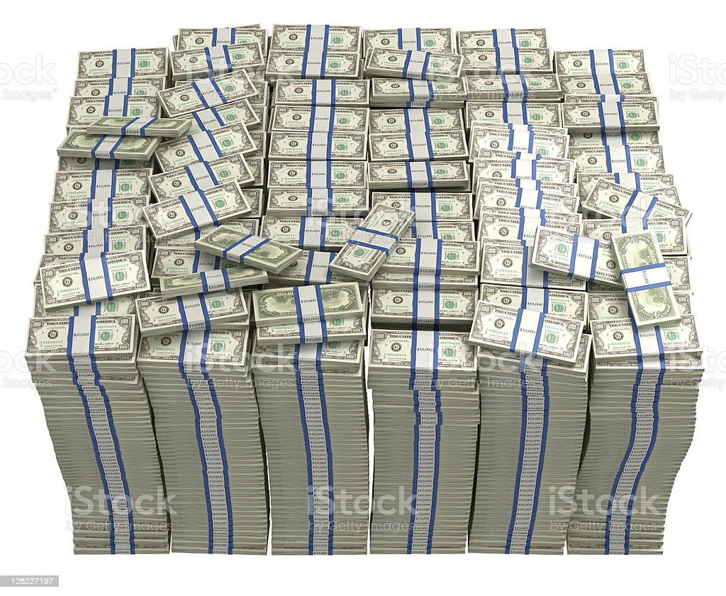 Treasury. Large bundle of US dollars stock photo