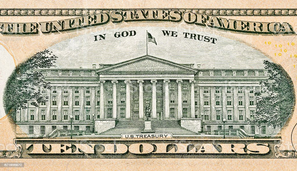 US Treasury on back of ten dollar bill - foto de stock
