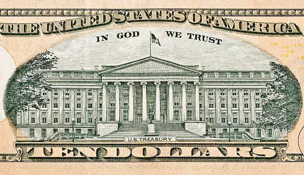 US Treasury on back of ten dollar bill - foto de stock