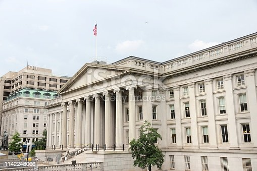 US Treasury Department building. Washington DC, capital city of the United States.