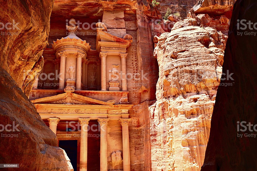 Treasury temple at Petra stock photo