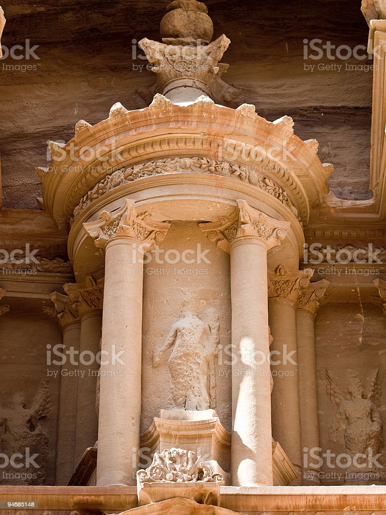 Treasury temple detail in Petra royalty-free stock photo