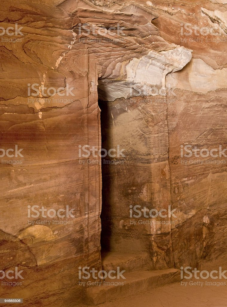 Treasury temple inside detail in Petra royalty-free stock photo