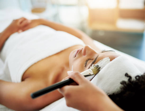 treat your skin to a soothing facial - chemical peel stock pictures, royalty-free photos & images