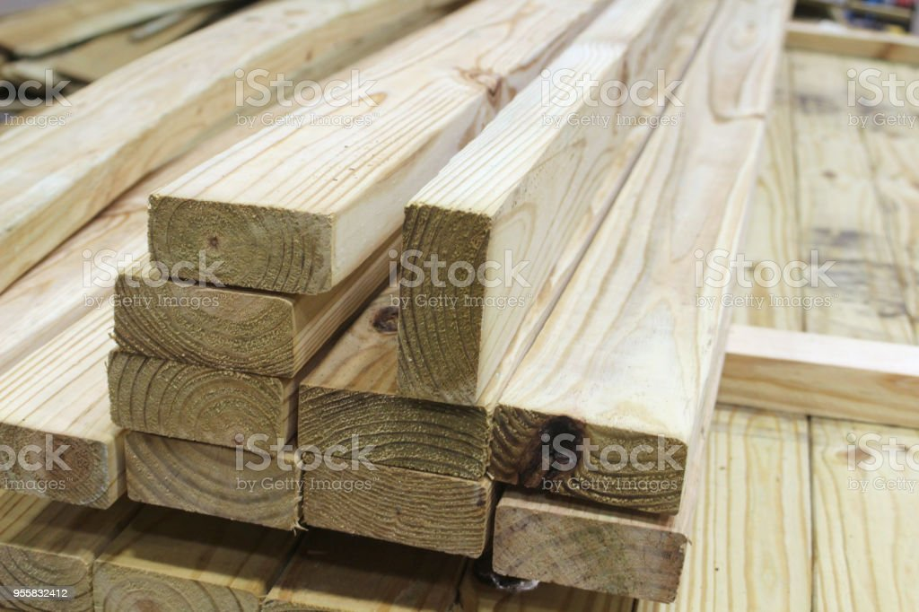 Treated Wood 2x4 8ft long stock photo