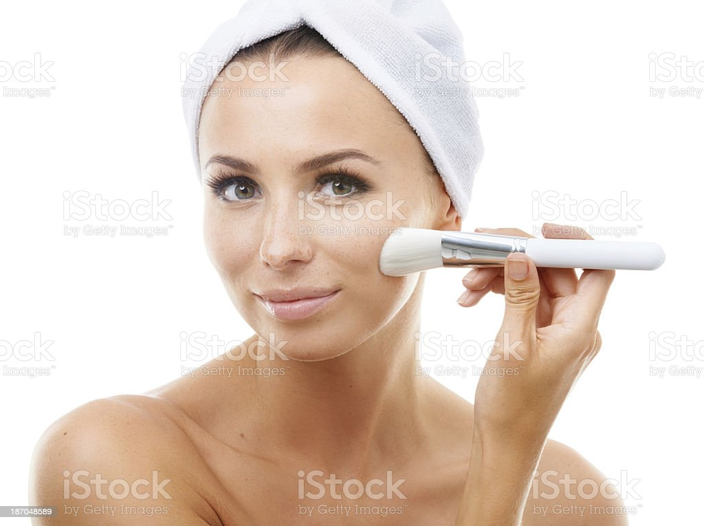 Treating herself to a facial royalty-free stock photo