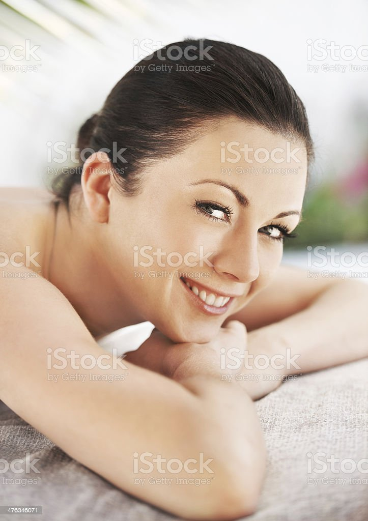 Treating herself to a pampering session royalty-free stock photo