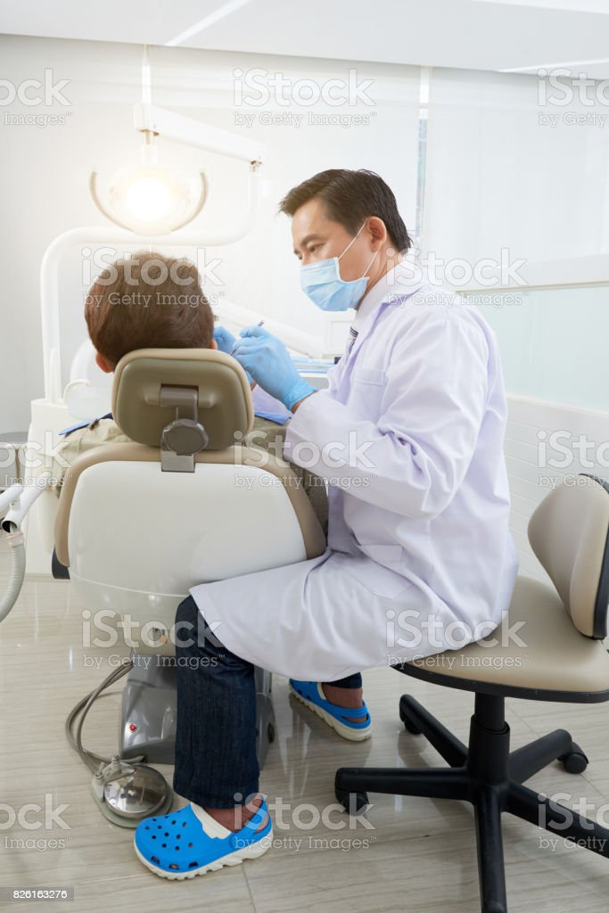 Treating patient stock photo
