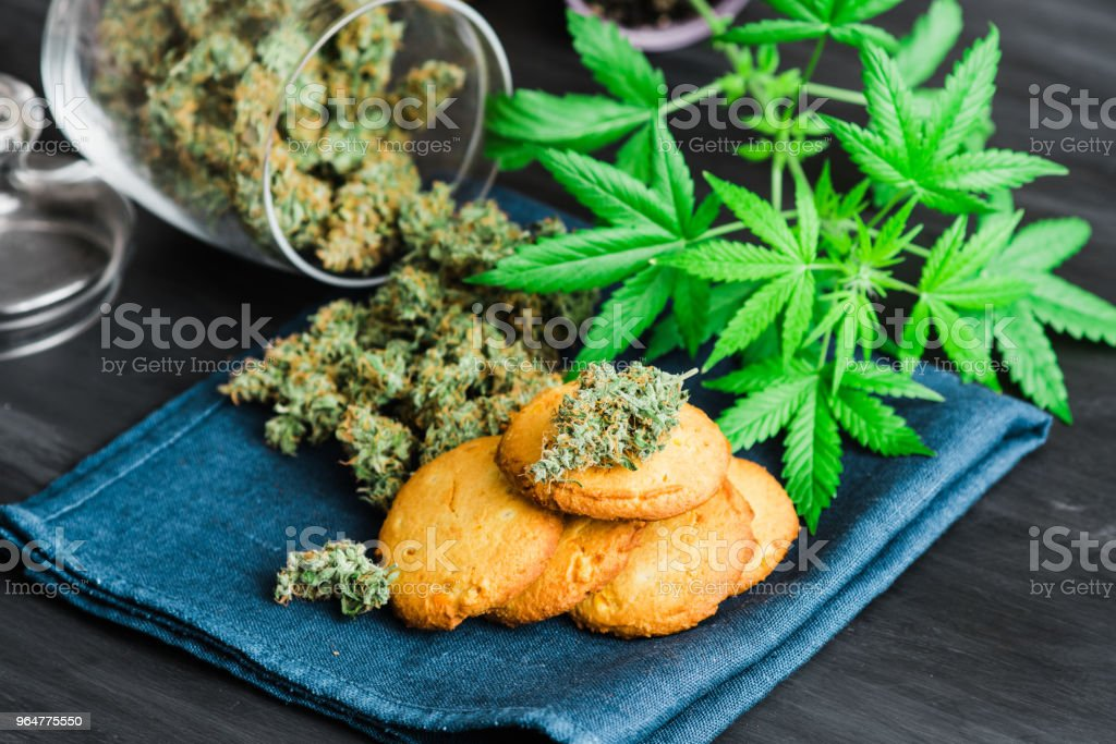 Treatment of medical marijuana Cookies with cannabis and buds of marijuana on the table. royalty-free stock photo