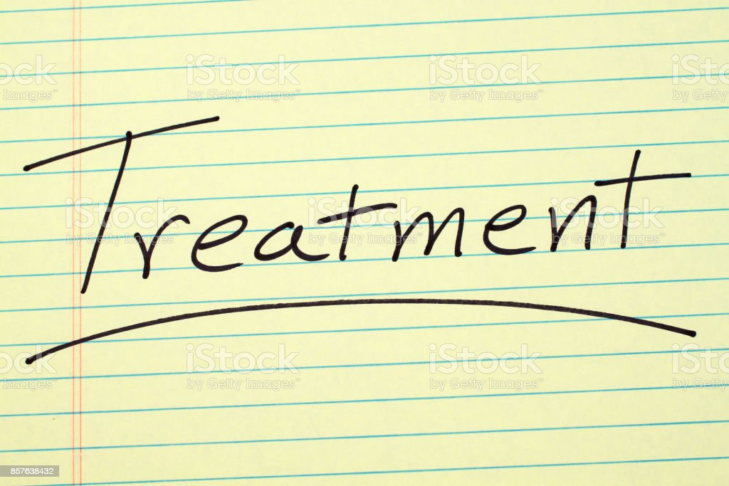 Treatment On A Yellow Legal Pad stock photo