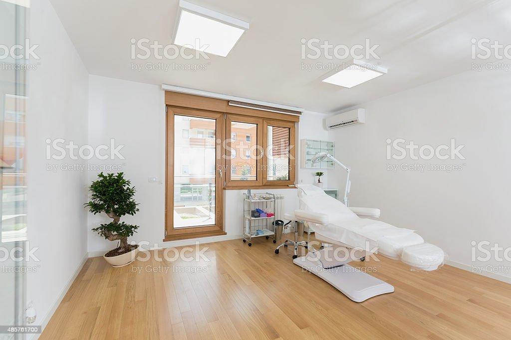 Treatment room in beauty clinic stock photo