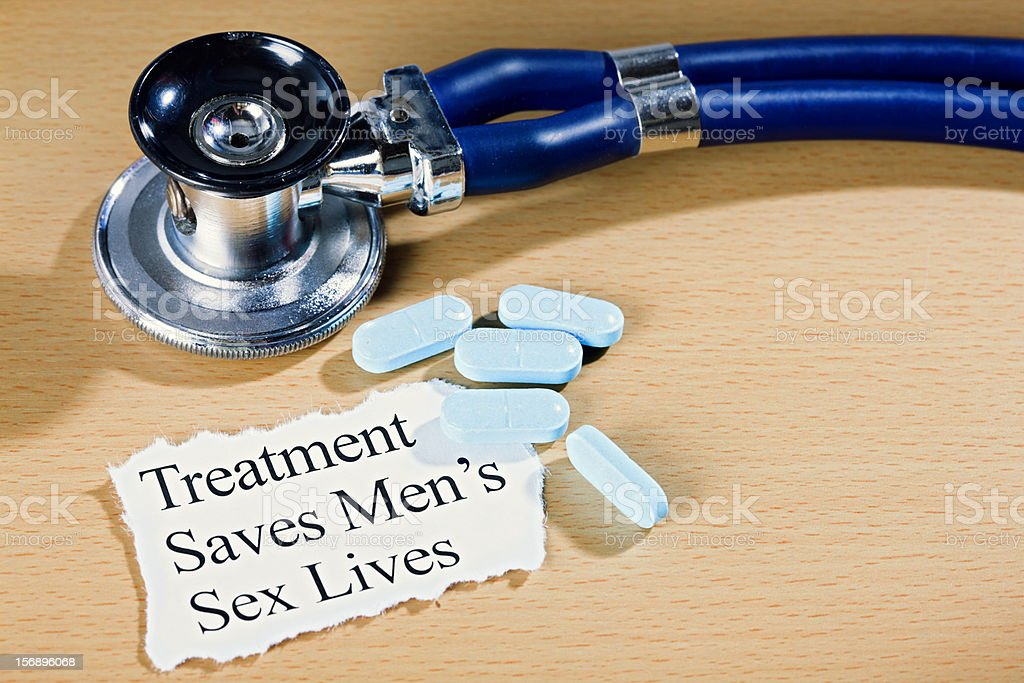 'Treatment saves men's sex lives': announcement, stethoscope, & medication royalty-free stock photo