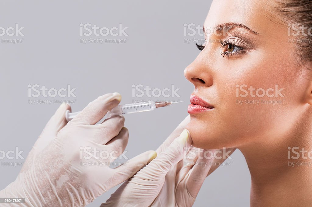 Treatment with botox. stock photo