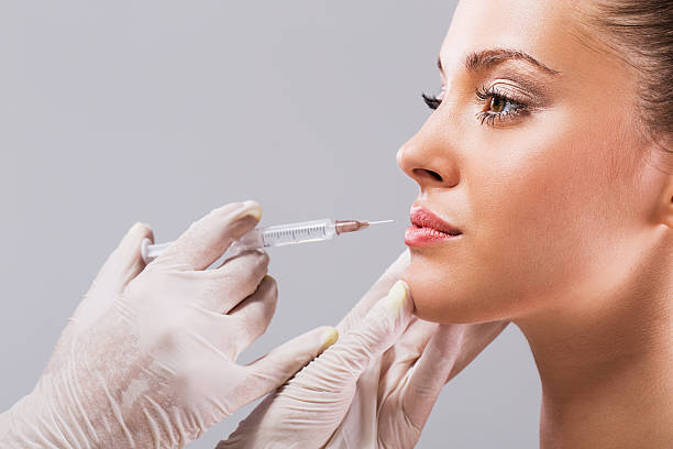Treatment with botox. stock photo