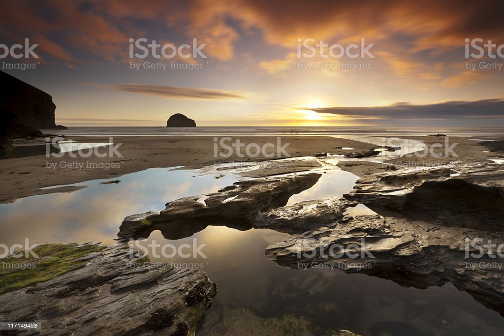 Trebarwith Strand Sunset stock photo