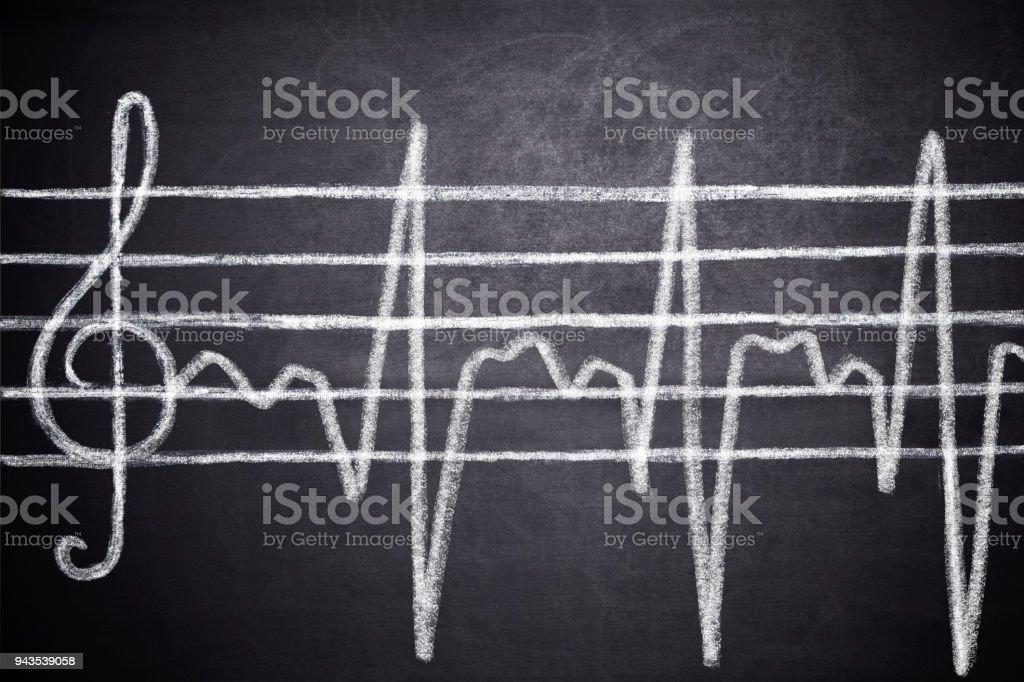 Treble clef, and Cardiogram line stock photo