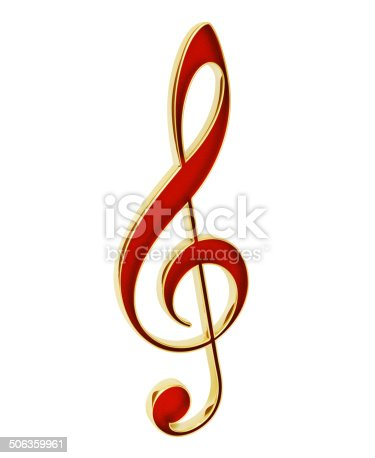 Note treble clef. 3d render