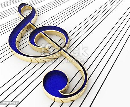 Note treble clef. 3d render