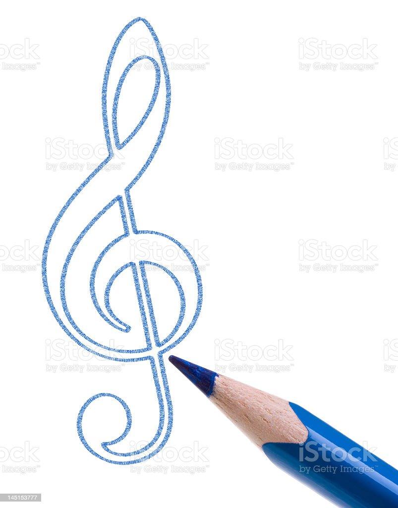 Treble clef sketch royalty-free stock photo