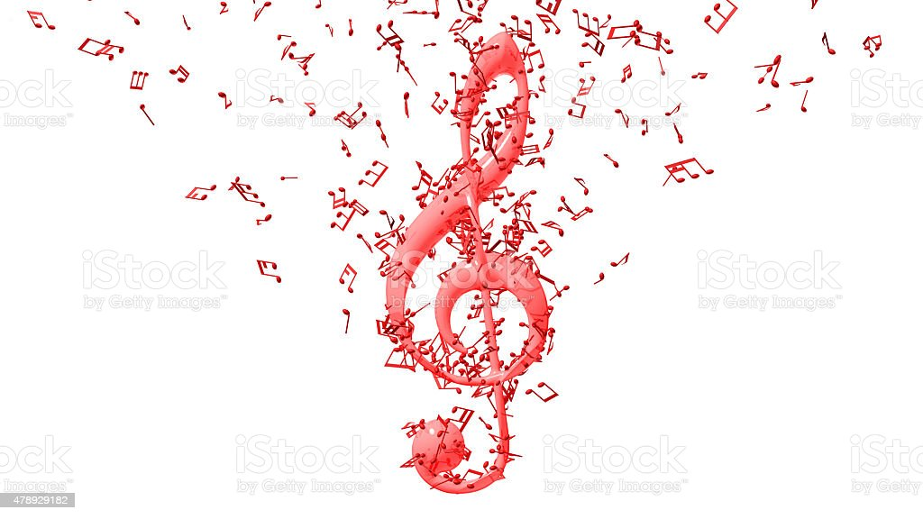 Treble clef with flying notes stock photo