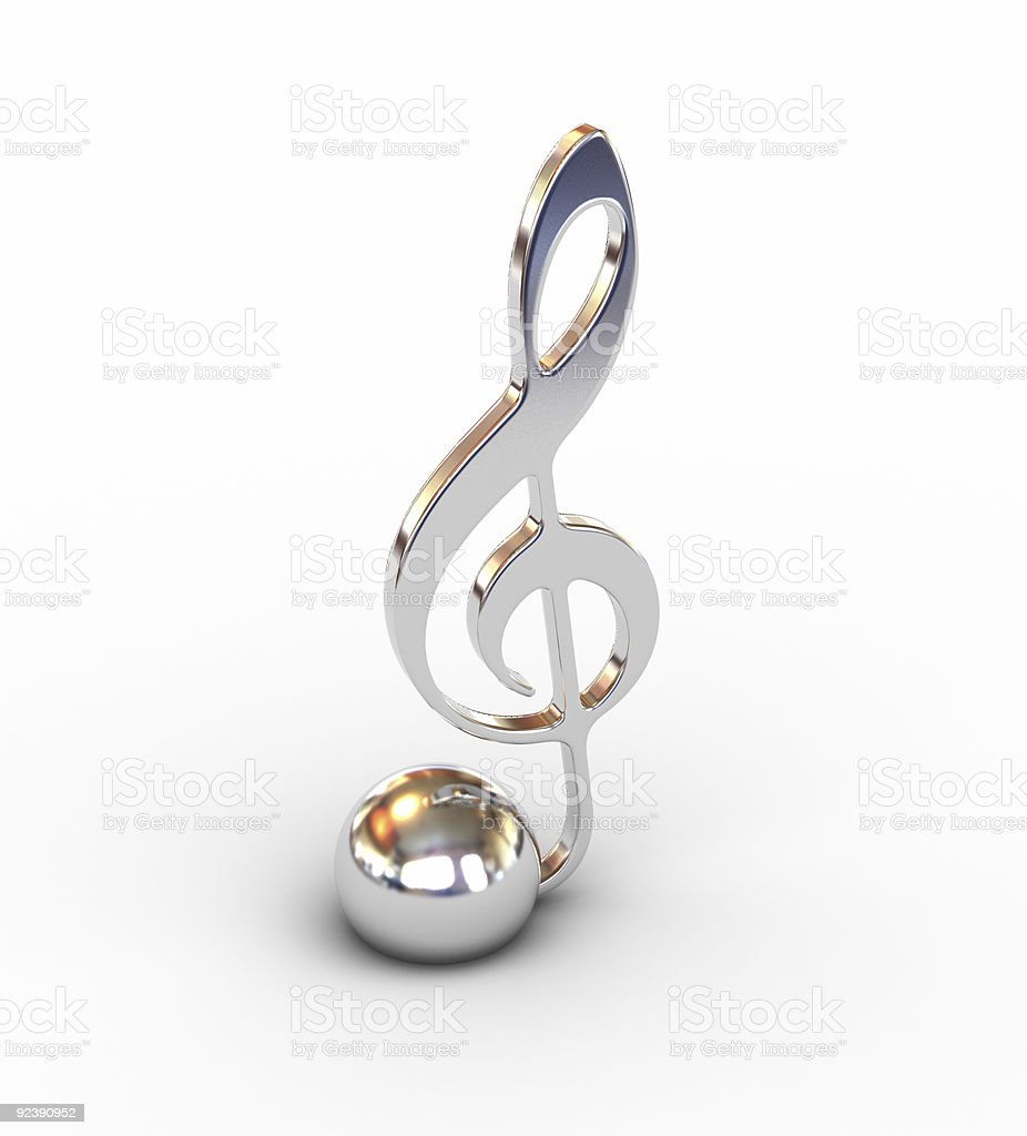 3D treble clef royalty-free stock photo