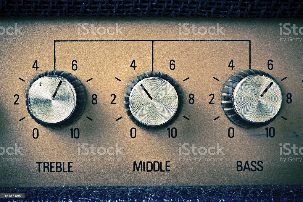 Treble Middle Bass, Guitar Amplifier Retro Mood stock photo