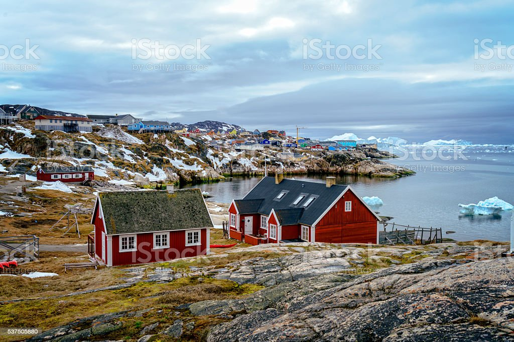 Treditional house in Greenland stock photo