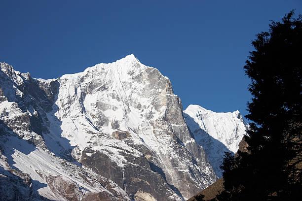트리 및 인공눈 산 절벽, Himalaya, 네팔 스톡 사진
