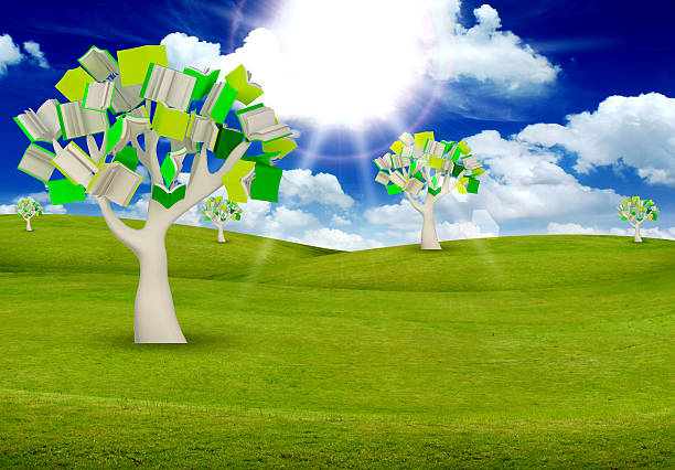 tree books with blue sky. - people stencils silhouette stock photos and pictures