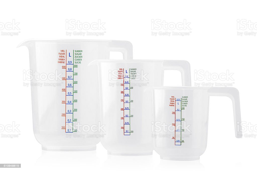 Tree clear measuring cups stock photo