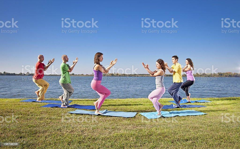 Tree couple , man and woman practice Yoga asana on lakeside. royalty-free stock photo