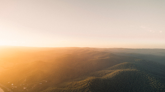 Tree Covered Hills in Great Ocean Road National Park, Australia at Sunset.