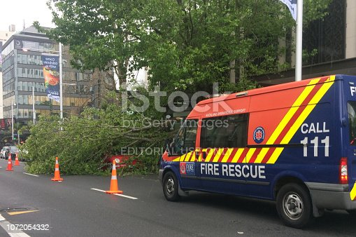 684793794istockphoto Tree crashed on a car due to a very high winds and bad weather 1072054332
