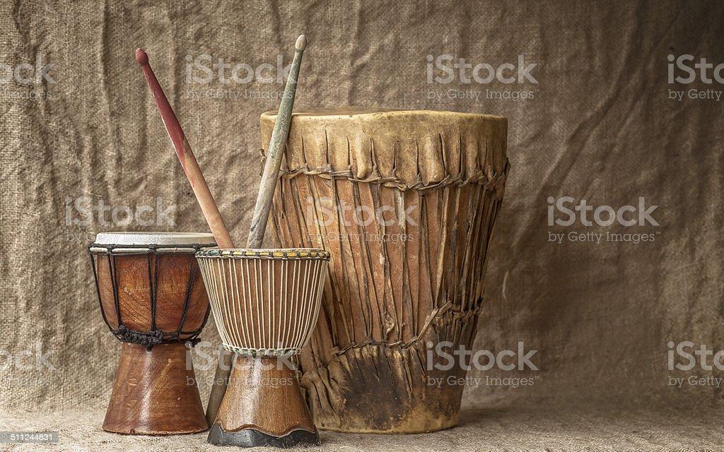 tree djembe drums stock photo