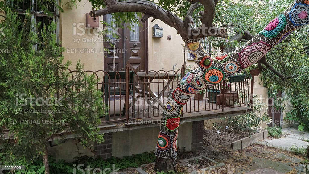 Tree dressed with knitted colorful wool lace at garden stock photo