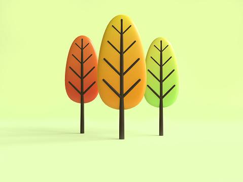 istock tree fall/autumn cartoon style 3d rendering 1051091832