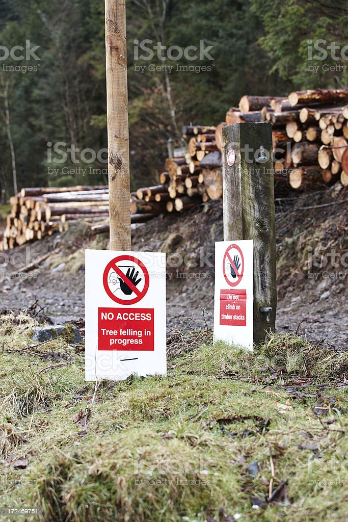 Tree felling area with warning signs royalty-free stock photo