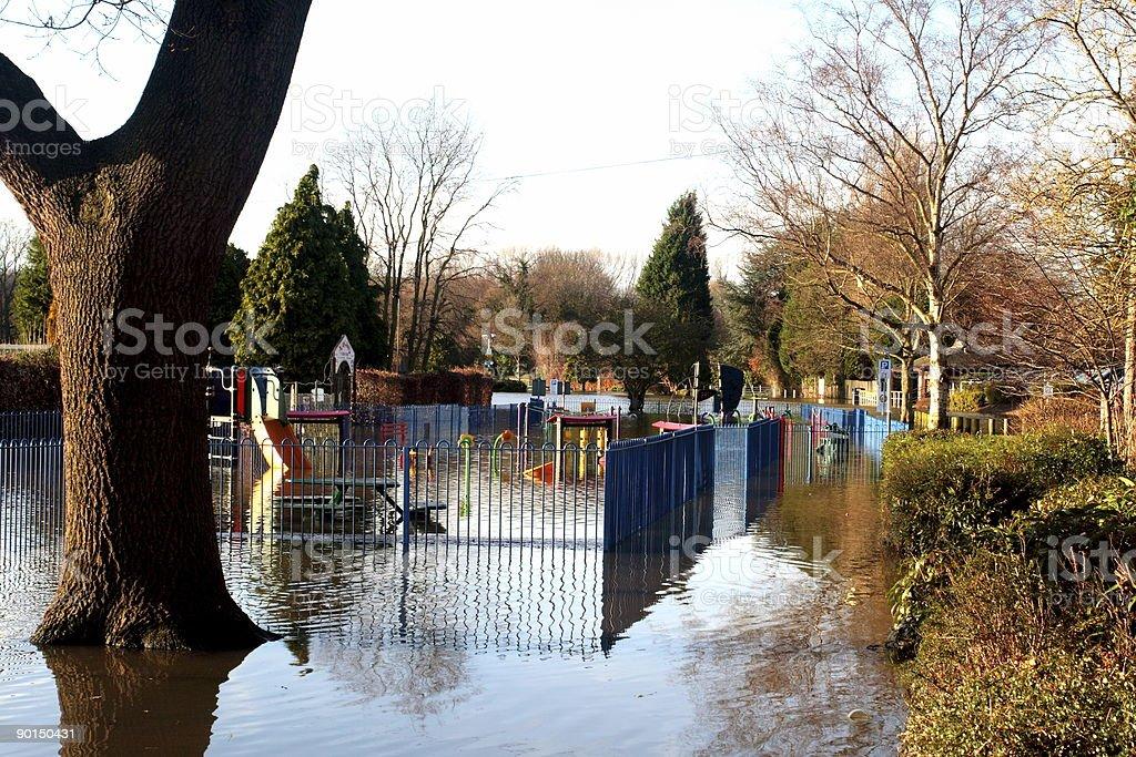 Tree Flood scene  Blue Stock Photo