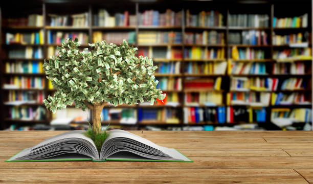 tree growing from book a big open book - illustration studium stock-fotos und bilder