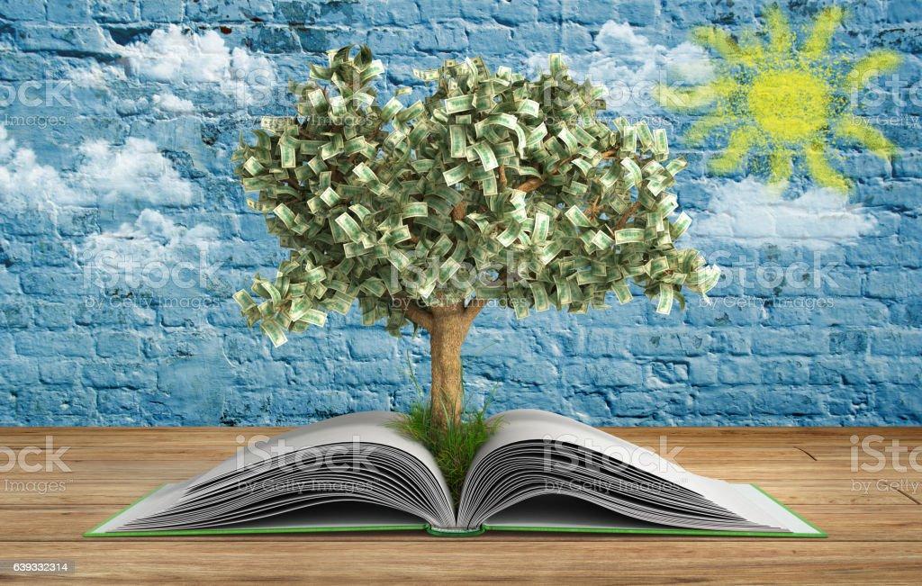 tree growing from book A big open book - foto de acervo